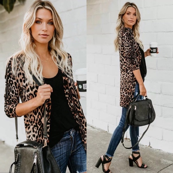 dba589fa7cce6 Leopard cheetah animal prints cover up cardigan
